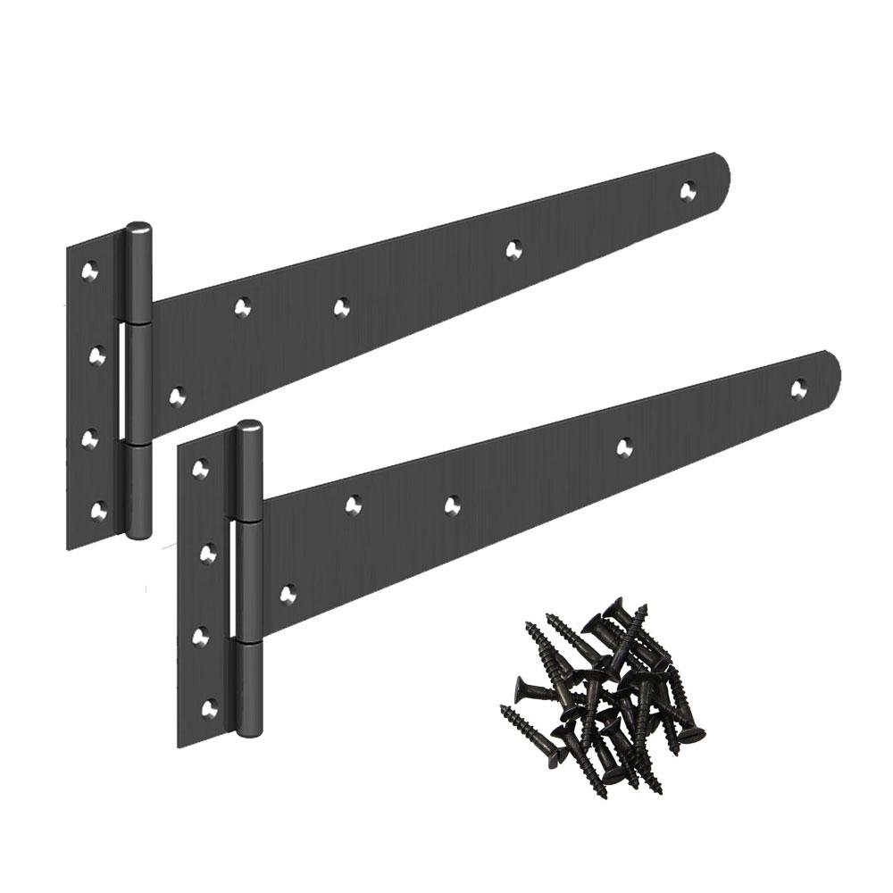 TEE HINGE Garden Shed Doors Gate Hinges All Sizes Black Galvanised 2 pack