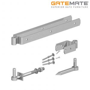 Gatemate Field Gate Double Strap Hinge Set With Gate Hanger To Bolt - Galvanised