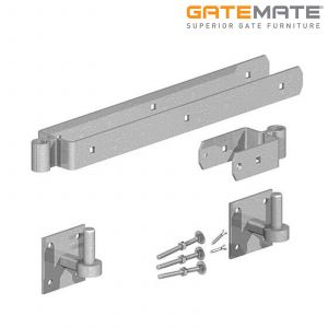 Gatemate Field Gate Double Strap Hinge Set With Hooks On Plates - 300mm - Galvanised