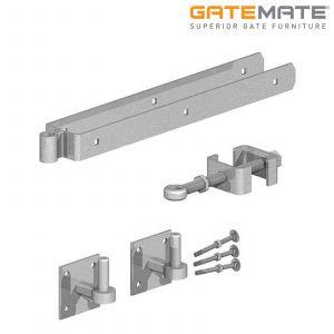 Gatemate Field Gate Adjustable Double Strap Hinge Set With Hooks On Plates - 300mm - Galvanised