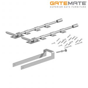 Gatemate Double Field Gate Fastener Set With 2 Garage Door Bolts - Galvanised