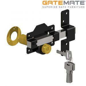 Premium Long Throw Lock - Double Locking - Stainless Steel/Epoxy Black