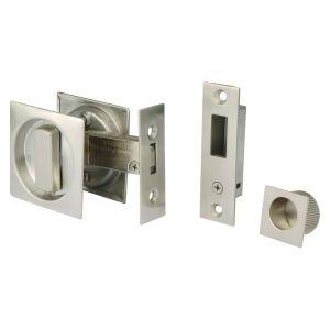 Square Sliding Door Bathroom Hook Lock - Satin Stainless Steel