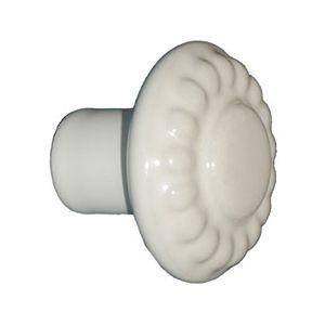 Ceramic Daisy Pattern Cupboard Knob - White