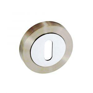 Premier Round Keyhole Cover - Satin Chrome / Polished Chrome - Standard