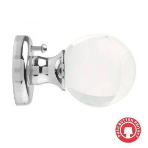 Round Clear Crystal Mortice Knob - Privacy - Polished Chrome