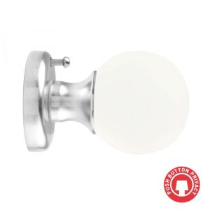 Round Frosted Crystal Mortice Knob - Privacy - Satin Chrome
