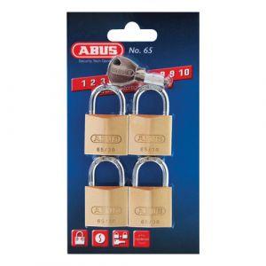 ABUS 65/40 Brass PadLock Keyed Alike - 40mm - Quad Pack