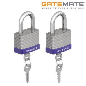 Gatemate Laminated Steel Padlocks Chrome Shackle Pack of 2