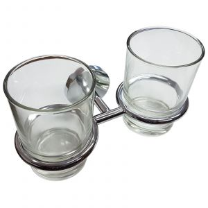Double Chrome Plated Glass Holder and Glass