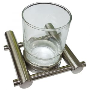 Single Satin Stainless Steel Glass Holder and Glass