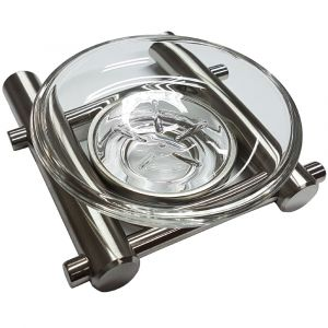 Single Satin Stainless Steel Glass Dish Holder and Dish