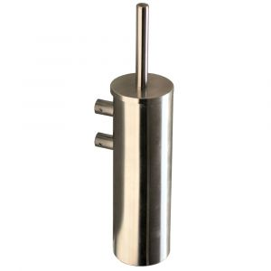 Solid Wall Mounted Toilet Brush and Holder Satin Stainless Steel