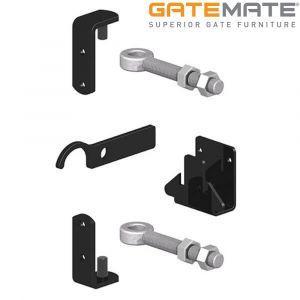 Gatemate Metal Gate Fixing Kit with Adjustable Gate Eyes - Epoxy Black