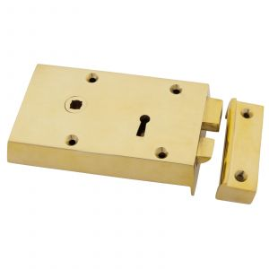 From The Anvil Rim Lock - 140mm x 86mm x 25mm - Left Hand - Polished Brass