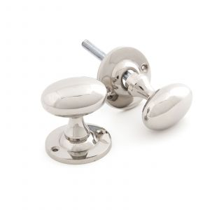 From The Anvil Oval Mortice/Rim Knobs - Polished Nickel