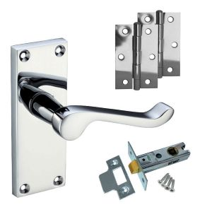Victorian Scroll Budget Latch Door Pack - Polished Chrome