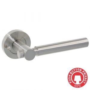 Astro Door Handle On Rose - Satin Nickel Push Button Privacy