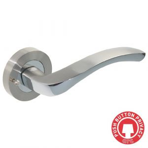 Arc Door Handle On Rose - Push Button Privacy