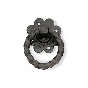 Twisted Ring Gate Handle 100mm - Black Antique