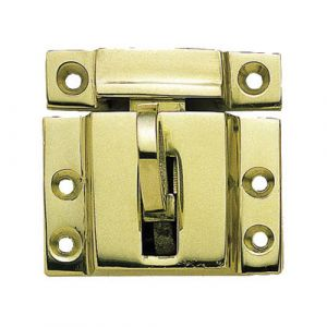 Fanlight Catch With Ring Polished Brass