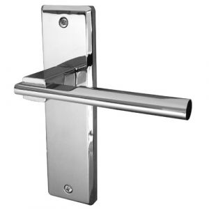 Delta Door Handle On Backplate Latchset - Polished Chrome