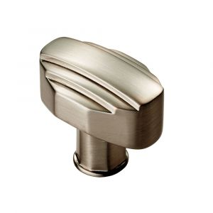 Fingertip Art Deco Knob - Satin Nickel