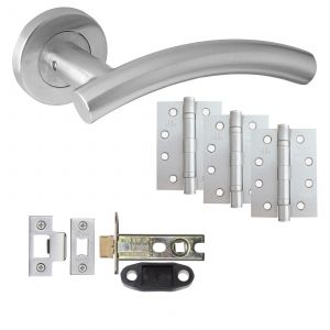 """Arched T-Bar Door Handle On Rose - Fire Rated Latch Door Pack With 4"""" Hinges - Satin Stainless Steel"""