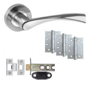 "Astrid Chrome Fire Rated Door Handle Set With 4"" Hinges - Door Packs - Latch"