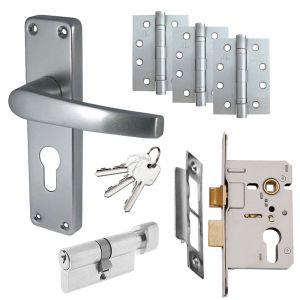 Budget Aluminium Door Handle Set - Euro Lock Door Pack