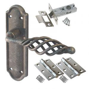Cage Door Handle Set - Latch Door Pack - Pewter