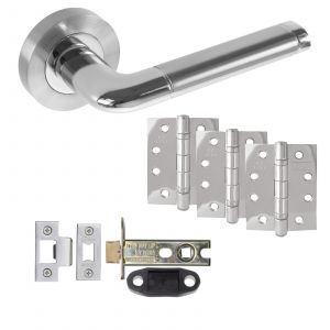 """Colima Door Handle On Rose - Fire Rated Latch Door Pack With 4"""" Hinges - Polished Chrome / Satin Chrome"""