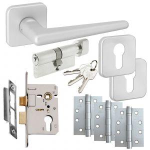 Easy Click Saturn Door Handle On Rose - Euro Lock Door Packs - Satin Aluminium Effect