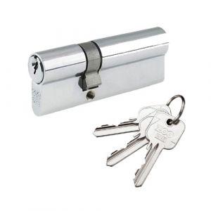 Euro Profile 5 Pin Double Offset Cylinder Lock 30/50mm  - Polished Chrome