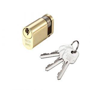 Oval Profile 5 Pin Single Cylinder Lock -  Polished Brass