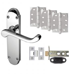 """Epsom Door Handle On Backplate - Fire Rated Latch Door Pack With 4"""" Hinges - Polished Chrome"""