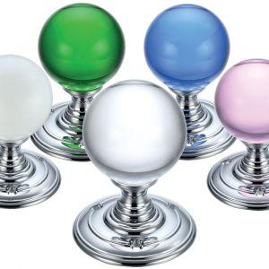Glass Ball Mortice Knobs - 55mm - Polished Chrome