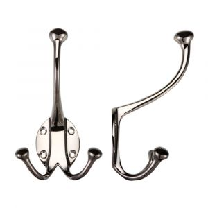 Fulton and Bray Double Hat and Coat Hook -  Nickel Plated