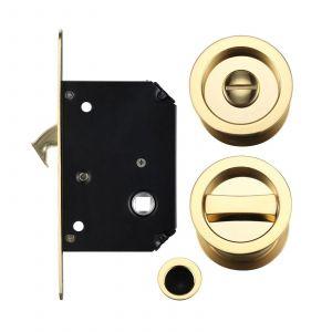 Fulton and Bray Sliding Door Lock Set - Polished Brass