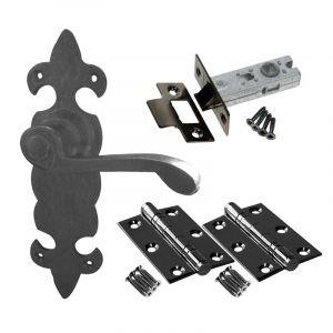 Fleur De Lys Door Handle Set - Latch Door Pack - Black Antique