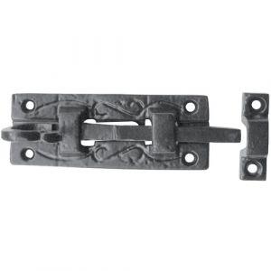 Curly Straight Door Bolt - Black Antique