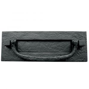Letterplate With Knocker 310mm x 105mm - Black Antique