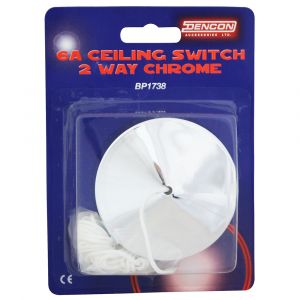 6A 2Way Ceiling Pull Switch - Polished Chrome
