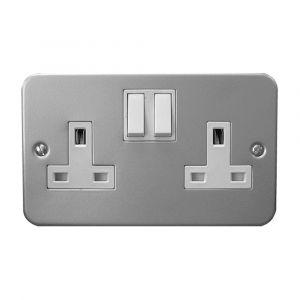 2 Gang Switched Socket Metal Clad Grey