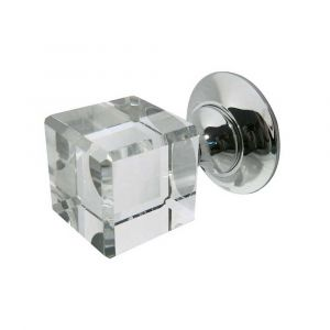 JH1170 Cube Glass Mortice Knob - Polished Nickel