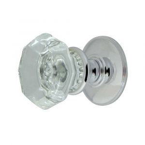 JH7020 Flower-Octagonal Glass Mortice Knob - Polished Chrome