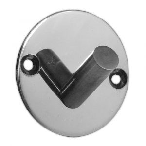 Single Robe Hook On Round Plate - Polished  Stainless Steel