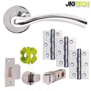 Jigtech Solar Door Pack - Latch - Polished Chrome