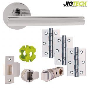 Jigtech Eden Door Packs - Latch - Polished Chrome