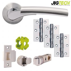 Jigtech Ultro Door Pack - Latch - Polished Chrome/ Satin Chrome